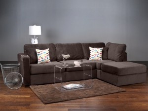 Four Cushion Chaise Sectional with Chocolate Rhinoplush Covers